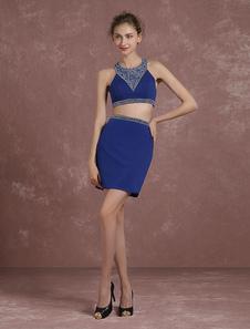 2 piezas Prom vestido vestido Mini vestido de Cóctel cultivo superior azul diseño trasero corto vestido fiesta