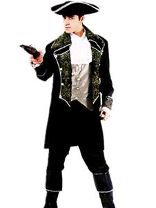 Image of Capitano Costume vestito d'argento nero Carnevale Pirate Costume maschile Carnevale