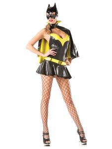 Image of Giallo Mini abito nero Batman Sexy Costume Carnevale donna con mantello e cappuccio Carnevale