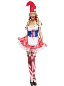 Image of Cameriera sexy Costume Carnevale donna abito corto rosso Clown Costume vestito Carnevale