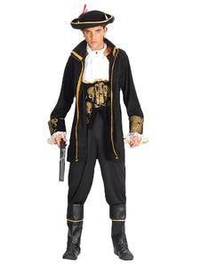 Image of Vestito di Carnevale Pirate Costume maschile oro nero capitano Costume Carnevale