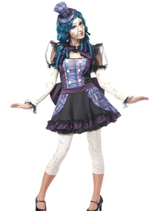 Image of Costume di carnevale clown Circus viola bambola rotta Clown Costume per le donne Halloween