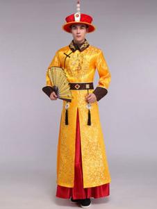 Image of Costumi Cinesi carnevale gialli cina set gown&cappello&accessori&cintura in raso