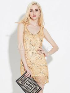 Image of Gold Flapper Dress Vintage Costume Women's Sequined Shift Dress