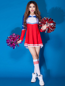 Image For Costumi di Danza jazz per donna rossi nylon da ragazza pon pon abito