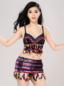 Image For Costumi di Danza jazz di poliestere per donna danza set top&gonna danzatrice del ventre