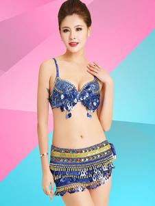Image For Costumi di Danza jazz blu set danzatrice del ventre gonna&reggiseno di poliestere per donna danza