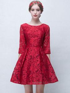 Image of Pizzo abito da Cocktail Borgogna mezze maniche corto abito a pieghe un linea Party Dress