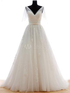Image of Tulle avorio lusso abito da sposa V collo illusione manica pizzo Applique perline Sash A linea Abito da sposa con strascico