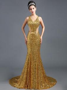 Image of Paillettes Abito da sera oro Mermaid abito partito estirpare Backless abito scollo a V occasione con treno