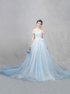 Image of Tulle nozze abito pastello blu fuori lo spalla Abito da sposa pizzo perline una linea lusso abito da sposa con Cattedrale di treno