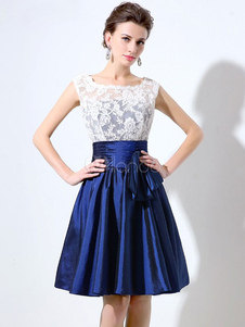 Image of Short Prom Dress Lace Homecoming Dress Royal Blue Bow Ruched A L