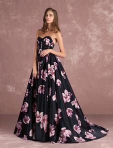 Concorso floreale abito nero senza spalline Sweatheart lungo abito disossato stampato abito da Cerimonia
