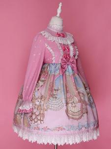 Image of Vestito da Lolita dolce maniche lunghe in chiffon a pieghe pizzo con colletto alla coreana con stampe