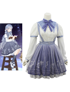 Image of Costume cosplay per bambini set blu chiaro camicia calze di poliestere Cosplay Carnevale Halloween per bambini fibra di poliestere Halloween