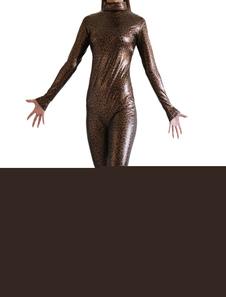 Image of Abbigliamento metallizzato marrone scuro zentai fibra di poliestere gomma metallizzata per donna  Carnevale