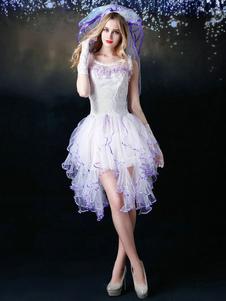 Blanc Tulle robe de mariée de la femme mariée sexy Costume Halloween avec voile Halloween