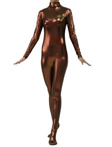 Image of Abbigliamento metallizzato marrone scuro per donna zentai fibra di poliestere  Carnevale