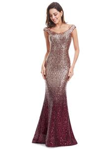 Bourgogne robe de soirée sirène Sequin robe formelle sans manches étage longueur robe de Occasion