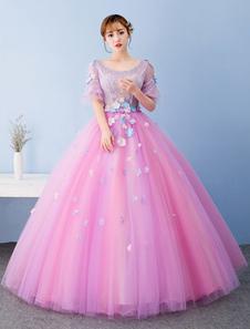 Fuchsia rose robe de Quinceanera robe boule Tulle Pageant robe Keyhole dos dentelle perles fleurs manches courtes étage longueur Prom robe