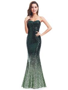 Image of Paillettes Abito da sera senza spalline Sweatheart Mermaid abito formale Hunter verde piano lunghezza abito occasione
