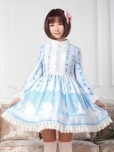 Image of Vestito da Lolita dolce maniche lunghe azzurro di poliestere a pieghe pizzo con colletto alla coreana con stampe