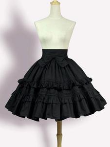 Image of Lolita Abito con Spalline dolce nero parte inferiore monocolore popeline