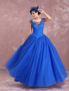 Image of Vestito da Sposa Principessa a terra in tulle blu reale maniche corte Scollatura con trasparenze Bottoni Basso a pieghe perline pizzo Milanoo