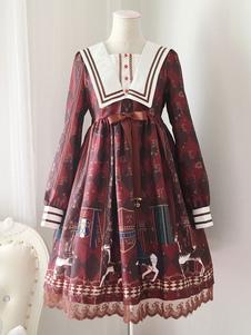 Image of Vestito da Lolita dolce maniche lunghe rosso Scuro di poliestere pizzo a pieghe colletto di Marinaio con stampe