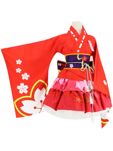 Image of Kimono giapponese Anime Kimono Cosplay Costume Rosso Sakura  Carnevale