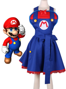 Image of Super Mario Cosplay Costume blu reale Gioco set donna cintura&ab