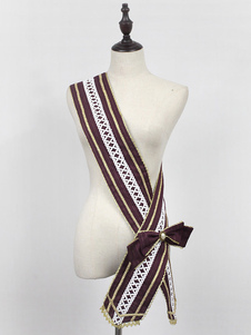 Image of Classic Lolita Accessorio Neverland Morning Star Idol Accademia Deep Brown Bow Lace Ribbon Sash