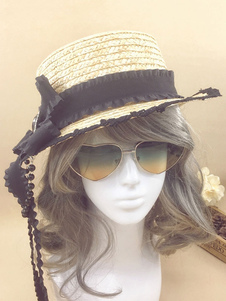 chapeau lolita avec noeud ornement métallique et perles en fibres naturelles organiques chapeau