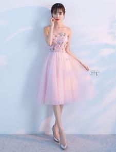 Image of Vestiti da ritorno a casa di Tulle Morbido rosa Sweetheart senza spalline corti abiti da sposa Fiori bordare Vestito di graduazione