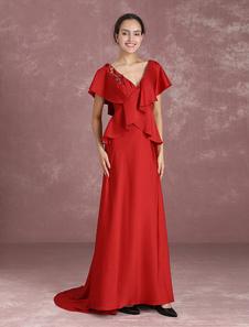 Image of Vestito da cerimonia nuziale degli abiti di cerimonia nuziale del vestito da cerimonia nuziale del vestito da sera del bordo del vestito dalla madre di Borgogna con il treno