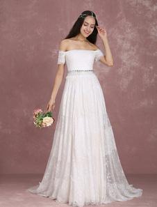 Image of        Abito da sposa in abito da sposa in abito da sposa Boho fuori dalla spalla che borda un abito da sposa in linea con il treno Milanoo
