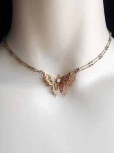 Image of Collana classica Lolita Collana farfalla Collana in oro rosa Lol