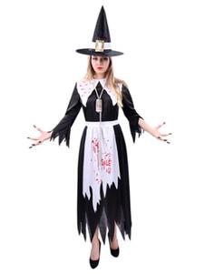 Image of Costume spaventoso di Carnevale Costume nero della strega donne con cappello e grembiule