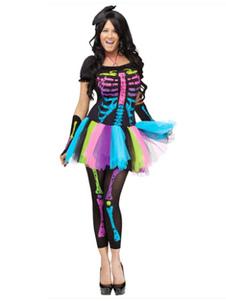 Image of Vestito corto di Carnevale Costume da Skeleton Nero con Pantaloni e Guanti Carnevale