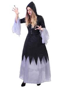 Image of Costume spaventoso di Carnevale Costume nero della strega abito lungo con cappello Carnevale