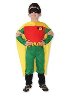 Image of Costume cosplay per bambini set rosso cintura mantello Superman di poliestere Cosplay Interpretazione Halloween per bambini di poliestere per ragazzi
