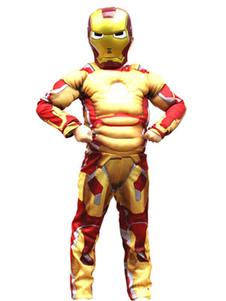 Image of Costume cosplay per bambini set oro maschera tuta Iron Man lavorato a maglia Natale Halloween misto cotone per ragazzi