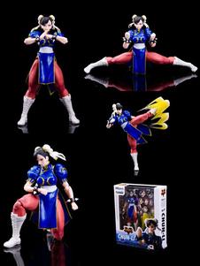 Figuras de Cosplay de PVC de Street Fighter de Chun-Lide azul francia  Halloween
