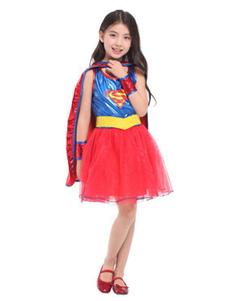 Image of Costume cosplay per bambini set blu reale polsiere cintura Superman di poliestere Cosplay Interpretazione Halloween di poliestere per ragazzo