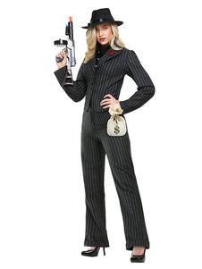 Costume de Halloween pour femmes Gangster en fibre polyester classique Top Pantalons pour adultes en polyester pour femme