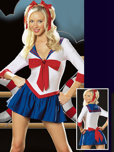 Image of Costume sexy di marinaio Sailor Moon donno per adulti da party Carnevale sexy con fiocchi accessori per la testa abito bianco set