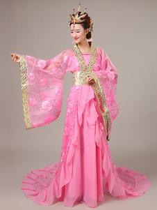 Image of Costumi Cinesi in chiffon set cina abito&cappotto&cintura carnevale etnicl