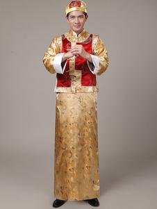 Image of Costumi Cinesi carnevale cina set cappello&gilet&gown etnicl broccato