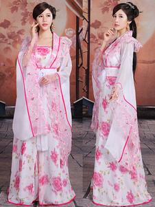 Image of Costumi Cinesi carnevale rosa chiari cina set abito&cintura etnicl in chiffon