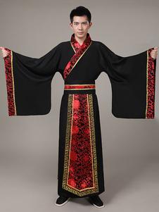 Image of Costumi Cinesi carnevale in raso neri cintura&gown set cina